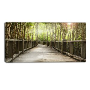 Wooden Bridge in Forest Landscape Photographic Print on Wrapped Canvas by Design Art