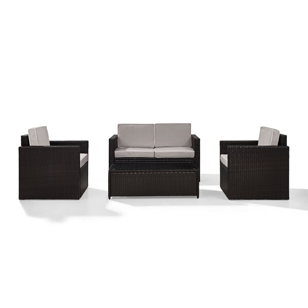 Belton 4 Piece Rattan Sofa Set with Cushions by Mercury Row