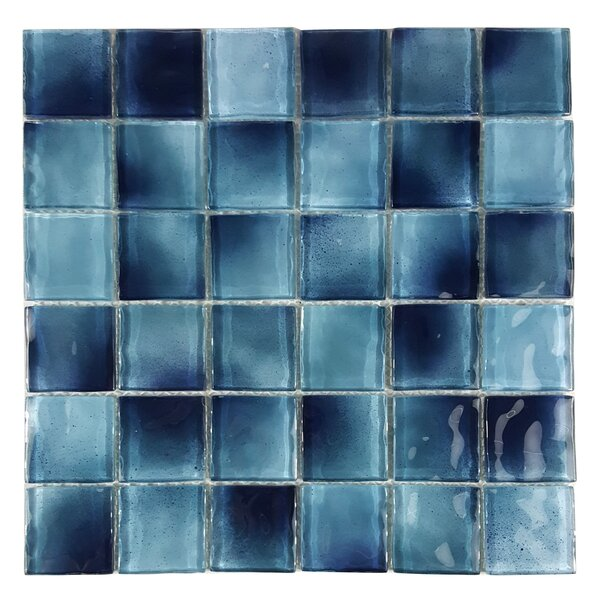 Watermarks 2 x 2 Glass Mosaic Tile in Sky Blue by Abolos