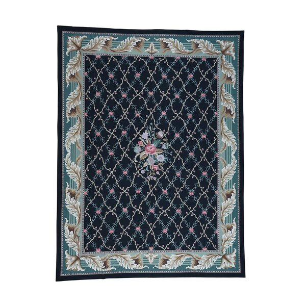 One-of-a-Kind Perz Needlepoint Botanical Hand-Knotted Black Area Rug by World Menagerie