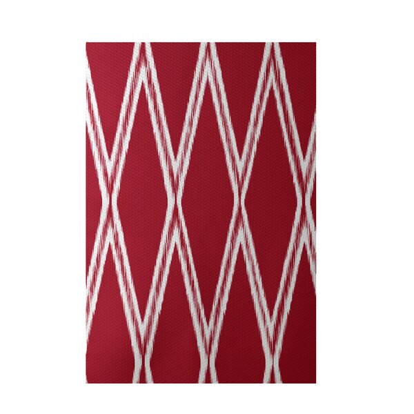 Gate Keeper Geometric Print Red Indoor/Outdoor Area Rug by e by design