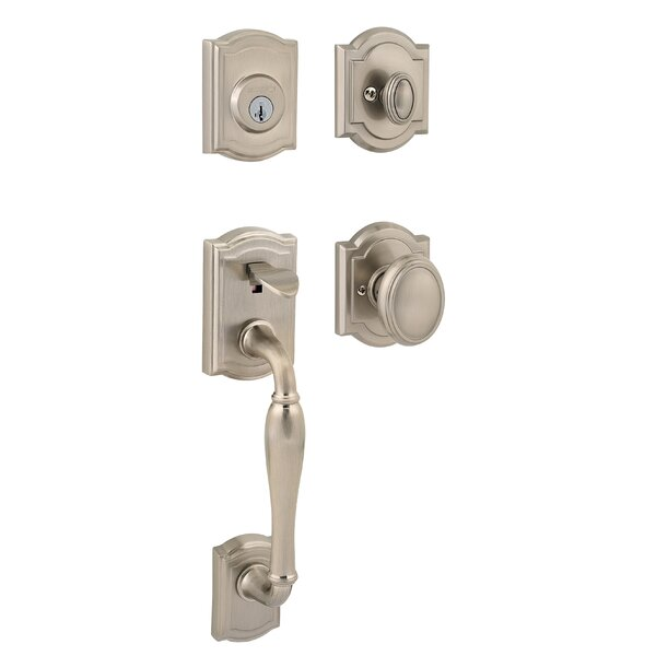 Prestige Wesley Single Cylinder Handleset with Carnaby Knob Featuring Smartkey® Security by Baldwin