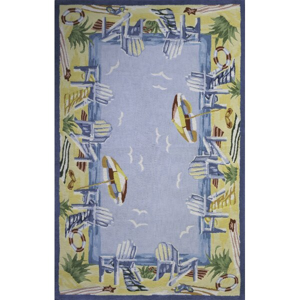 Tamins At The Beach Handmade Blue Area Rug by Highland Dunes