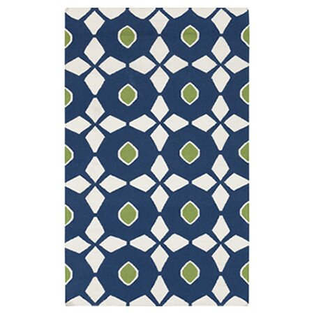 Donley Atlantic Blue/Antique White Geometric Area Rug by Wrought Studio