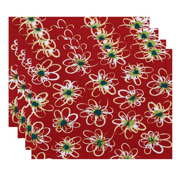 Cherry Penelope Floral Geometric Print Placemat (Set of 4) by Latitude Run