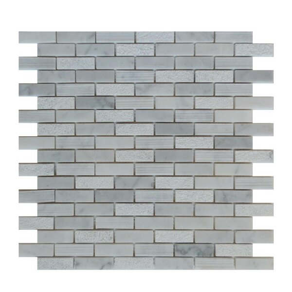 0.63 x 2 Natural Stone Mosaic Tile in Carrara by QDI Surfaces