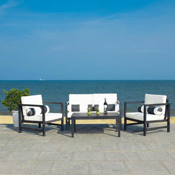 Crocett 4 Piece Sofa Seating Group with Cushions by Beachcrest Home