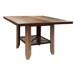 Look for Stoke Bishop Wood Counter Height Dining Table with Iron Shelf by Millwood Pines