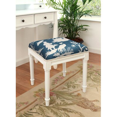Chinoiserie Vanity Stool 123 Creations Frame Color/Top Color: White/Navy Blue -  CS076WDS-NY