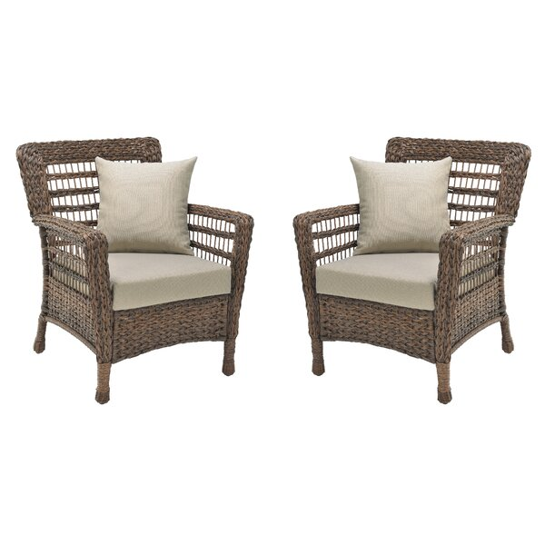 Donn Modern Faux Sea Grass Resin Rattan Patio Chair With Cushions (Set Of 2) By Bay Isle Home