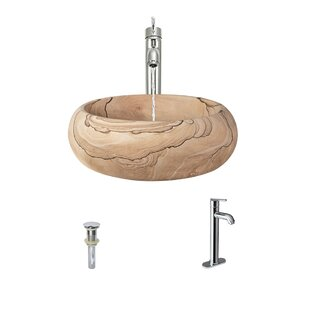 Find for Stone Circular Vessel Bathroom Sink with Faucet By MR Direct