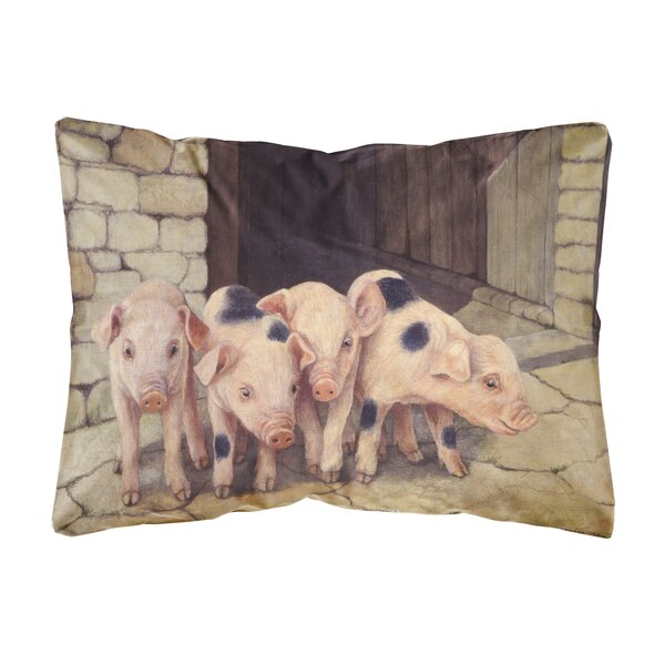 Sickels Pigs Piglets by Daphne Baxter Fabric Indoor/Outdoor Throw Pillow by Winston Porter