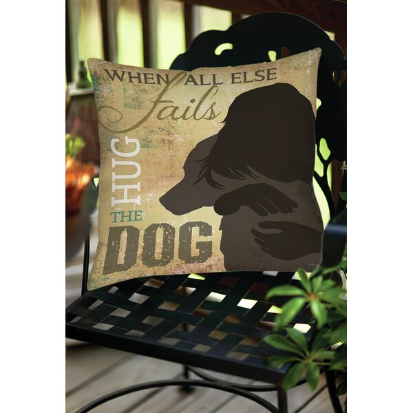 Hug the Dog Indoor/Outdoor Throw Pillow by Manual Woodworkers & Weavers