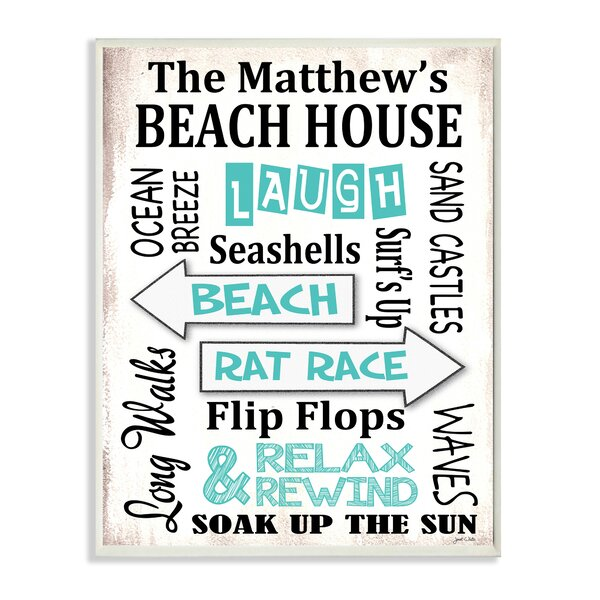 Personalized Beach House Arrows by Janet White Textual Art Plaque by Stupell Industries