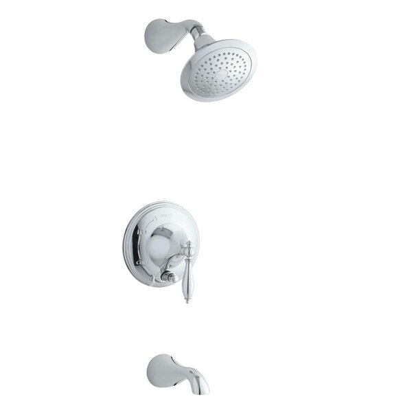 Finial Rite-Temp Pressure-Balancing Bath and Shower Faucet Trim with Push-Button Diverter and Lever Handle, Valve Not Included by Kohler