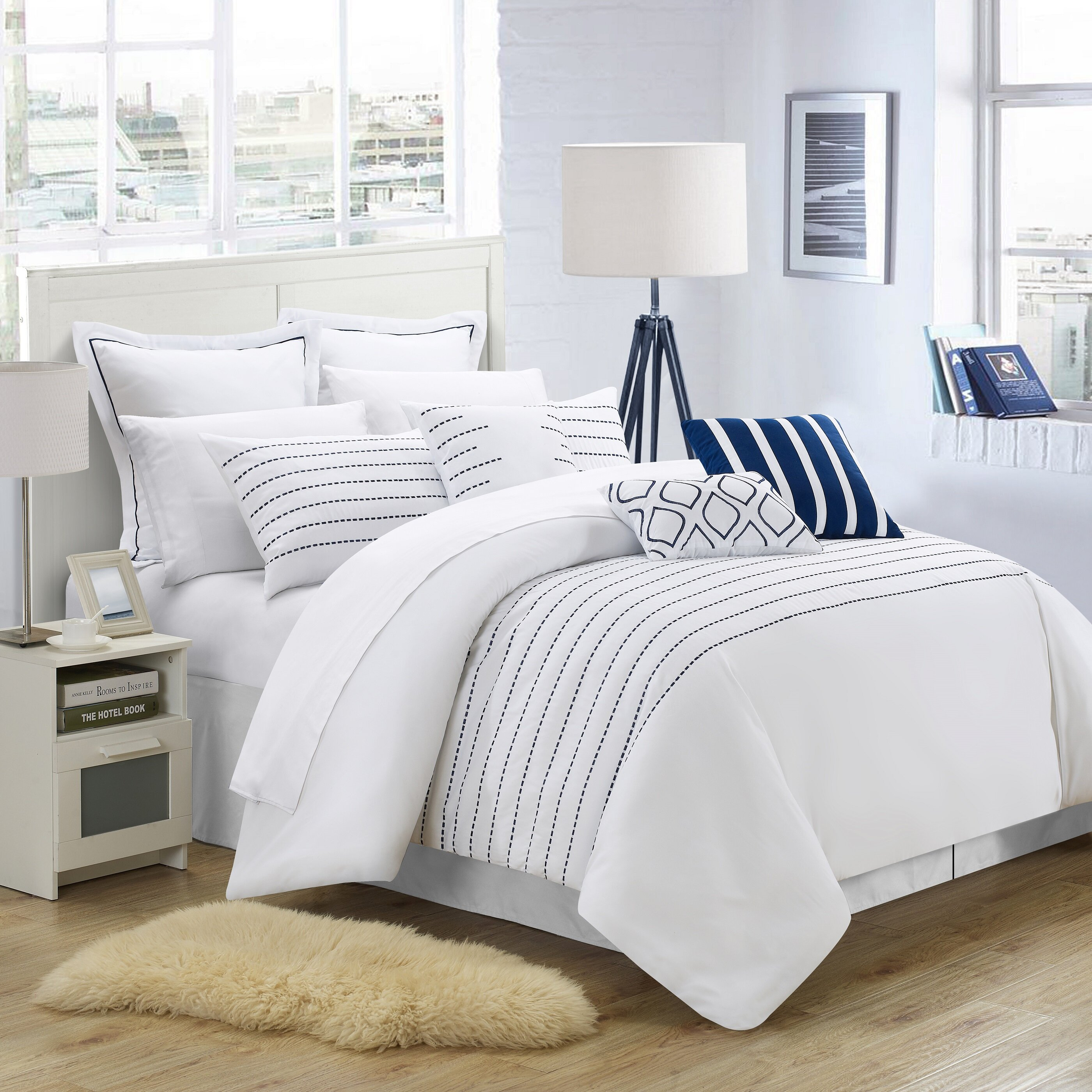 bedding comforter white with black coral stitching sets trim hotel