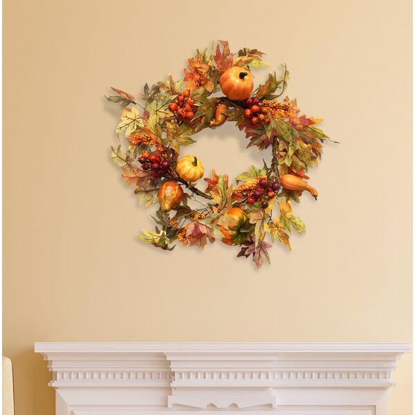 24 Maple Leaf and Gourd Wreath by Darby Home Co