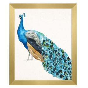 'Watercolor Peacock' Framed Painting Print by Click Wall Art