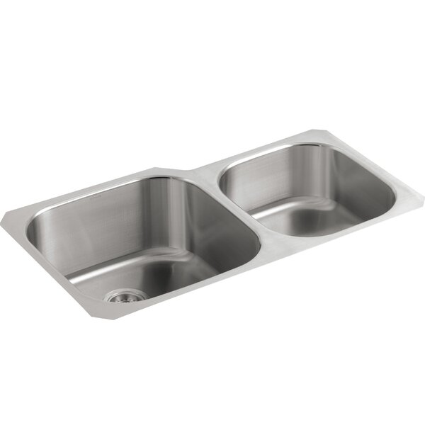 Undertone 35-1/8 L x 20-1/8 W x 9-3/4 Under-Mount Extra Large/Medium Double-Bowl Kitchen Sink by Kohler