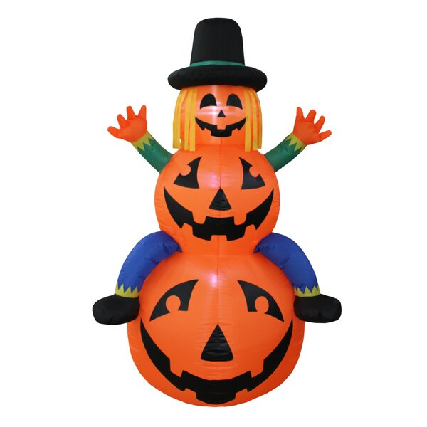 Halloween Scarecrow Inflatable on Pumpkins by The Holiday Aisle