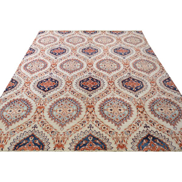 One-of-a-Kind Dorn Hand-Knotted Wool Ivory/Blue Area Rug by Isabelline
