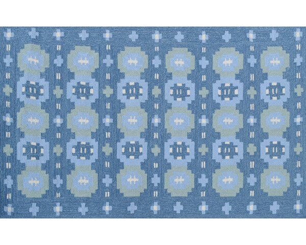 Bryce Hand-Hooked Blue Indoor/Outdoor Area Rug by Threadbind