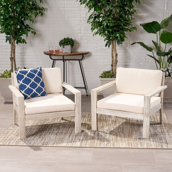 Gillum Outdoor Patio Chair With Cushions (Set Of 2) By Highland Dunes