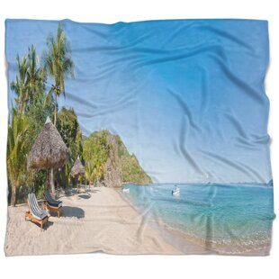 Seashore Photo Beach with Chairs and Umbrellas Blanket & Beach Chair And Umbrella | Wayfair