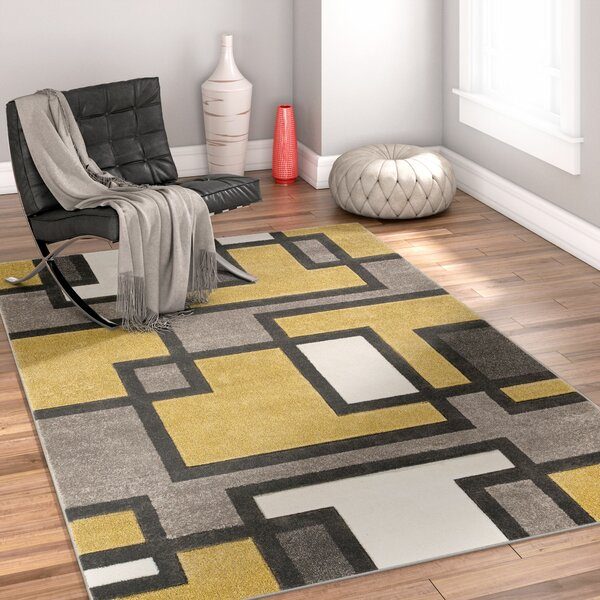 Imagination Square Gold/Gray Area Rug by Well Woven