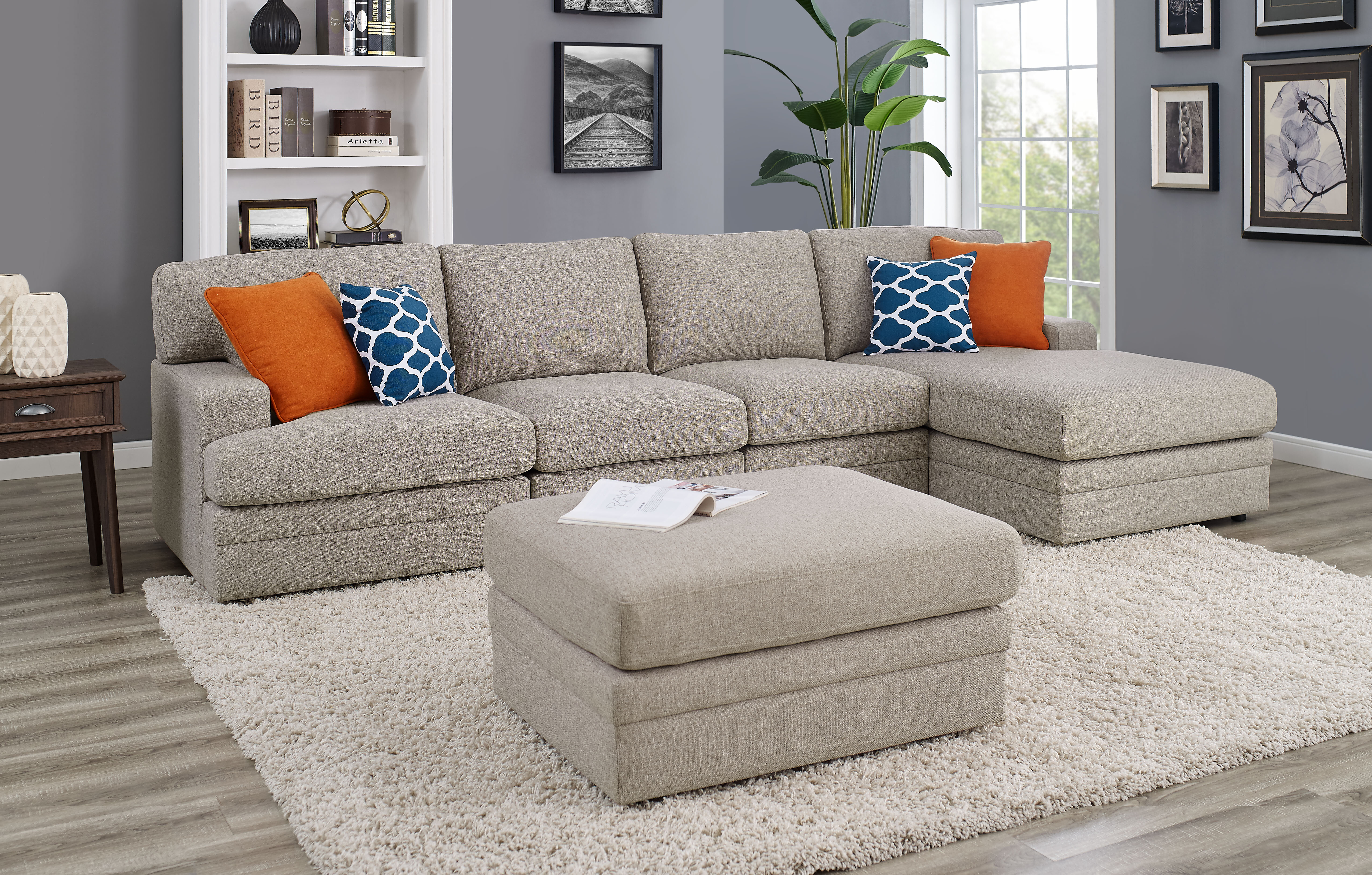 Episkopi 4 Seater Large Right hand facing Sectional Sofa With Ottoman
