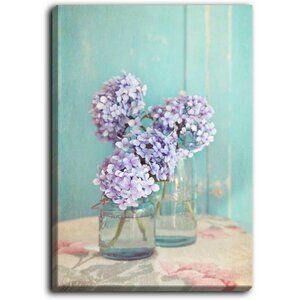 'Hydrangeas in Mason Jars' by Sylvia Cook Painting Print on Wrapped Canvas by DiaNoche Designs