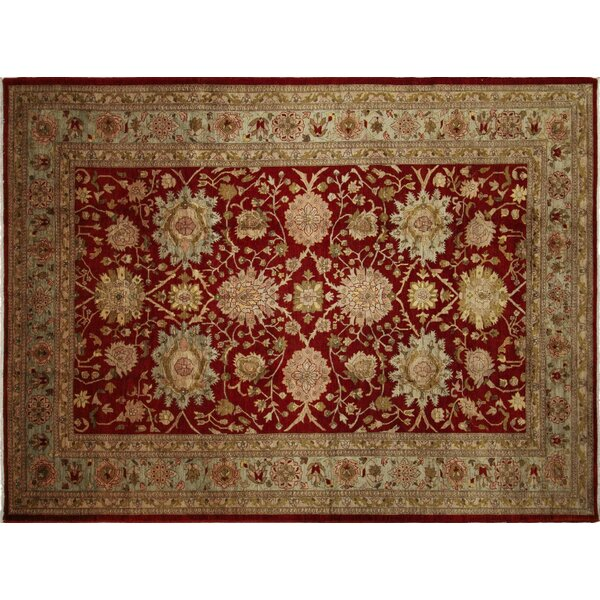 One-of-a-Kind Romona Hand-Knotted Rectangle Red Wool Indoor Area Rug by Isabelline