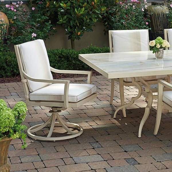 Misty Garden Swivel Patio Dining Chair with Cushio