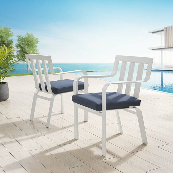 Metin Stacking Patio Dining Chair with Cushion (Set of 2) by Ebern Designs Ebern Designs