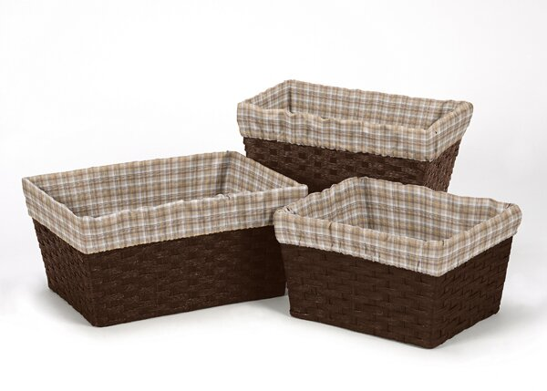 Wild West Cowboy Plaid 3 Piece Basket Liner Set by Sweet Jojo Designs