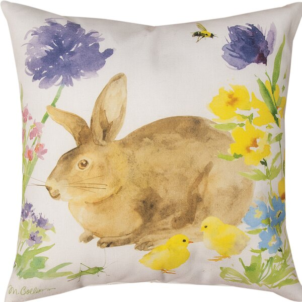 Collins Garden Bunny & Flowers Throw Pillow by Manual Woodworkers & Weavers
