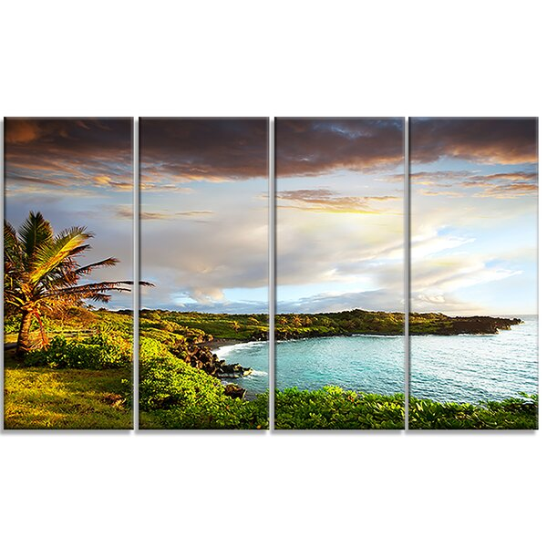 Hawaii Oahu Island 4 Piece Photographic Print on Wrapped Canvas Set by Design Art