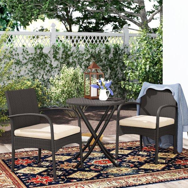 Dereham Outdoor 3 Piece Bistro Set with Cushions
