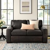 Lincolnton Genuine Leather 64 Square Arm Loveseat by Three Posts
