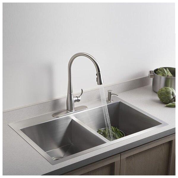 Vault 33 L x 22 W x 9-5/16 Top-Mount/Under-Mount Large/Medium Double-Bowl Kitchen Sink with Single Faucet Hole by Kohler