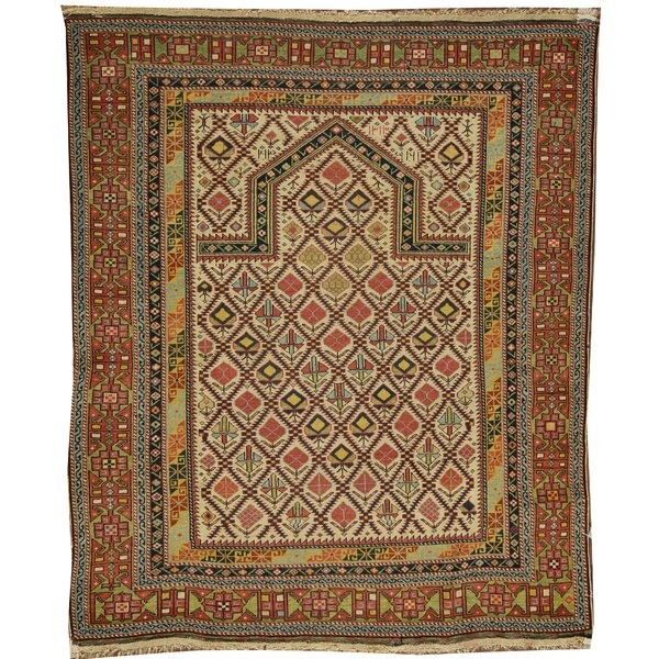One-of-a-Kind Hand-Knotted Before 1900 Burnt Orange/Green 4'1 x 4'6 Wool Area Rug