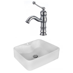 Price comparison Above Counter Ceramic Rectangular Vessel Bathroom Sink with Faucet ByRoyal Purple Bath Kitchen