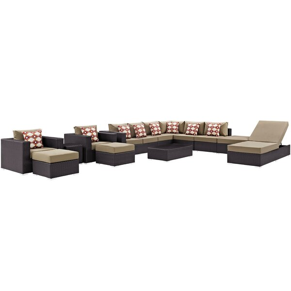 Brentwood 12 Piece Rattan Sectional Set With Cushions By Sol 72 Outdoor