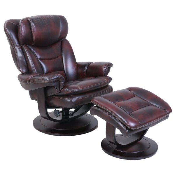 Glaser Pedestal Manual Swivel Recliner With Ottoman By Darby Home Co
