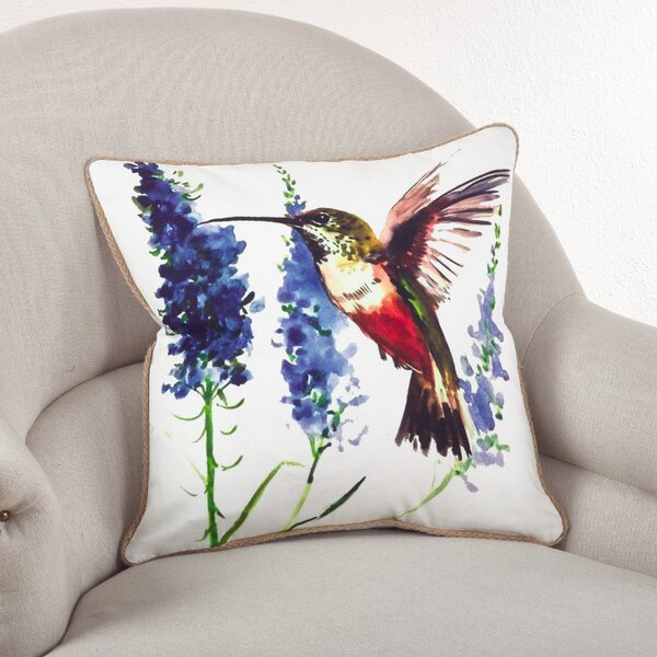 Hummingbird Cotton Throw Pillow by Saro