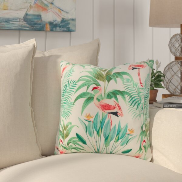 Sherwick Flamingo Palms Throw Pillow by Bay Isle Home