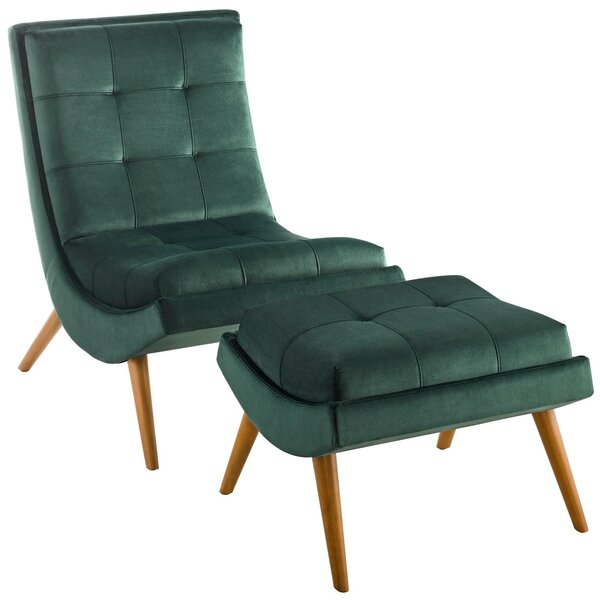 Tomah Upholstered Performance Velvet Lounge Chair and Ottoman by Brayden Studio
