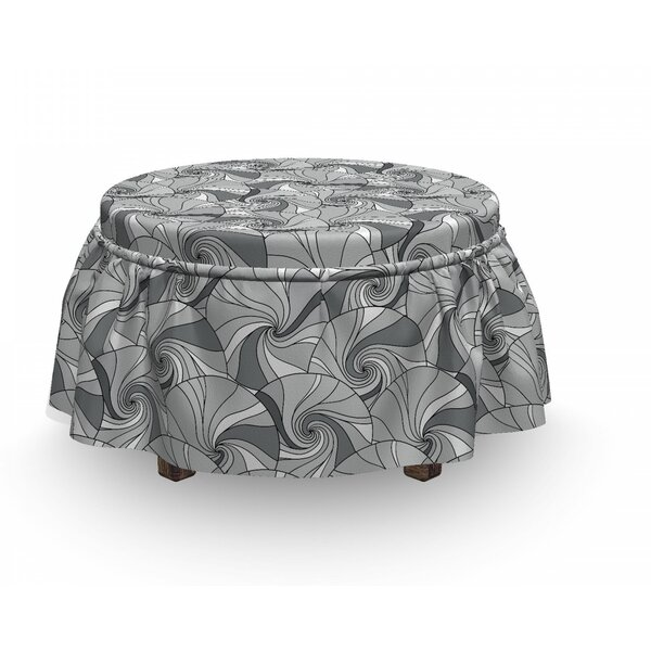 Doodle Circle Stripes Ottoman Slipcover (Set Of 2) By East Urban Home