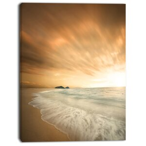 'Beautiful Brown Beach at Sunset' Photographic Print on Wrapped Canvas by Design Art