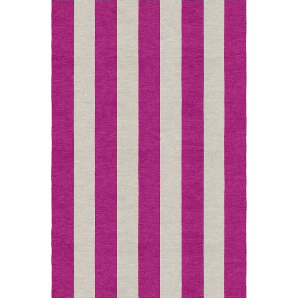 Claussen Stripe Hand-Woven Wool Silver/Magenta Area Rug by Rosecliff Heights